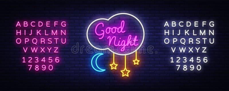 Good Night Neon Sign Vector. Good Night neon text, design template, modern trend design, night neon signboard, night stock illustration