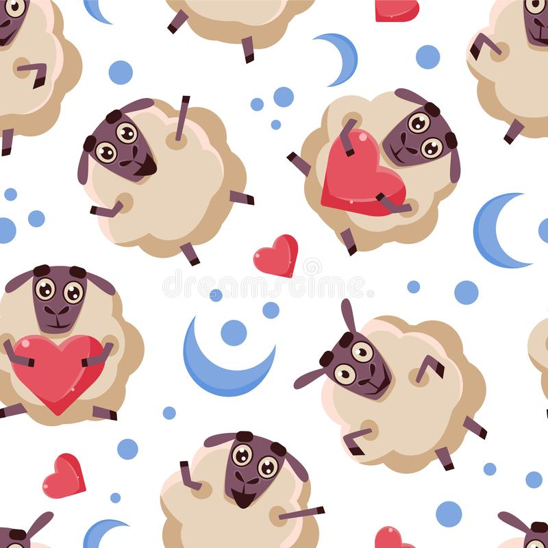 Good Night Seamless Pattern with Cute Cartoon Sheep, Design Element Can Be Used for Fabric, Wallpaper, Packaging Vector royalty free illustration