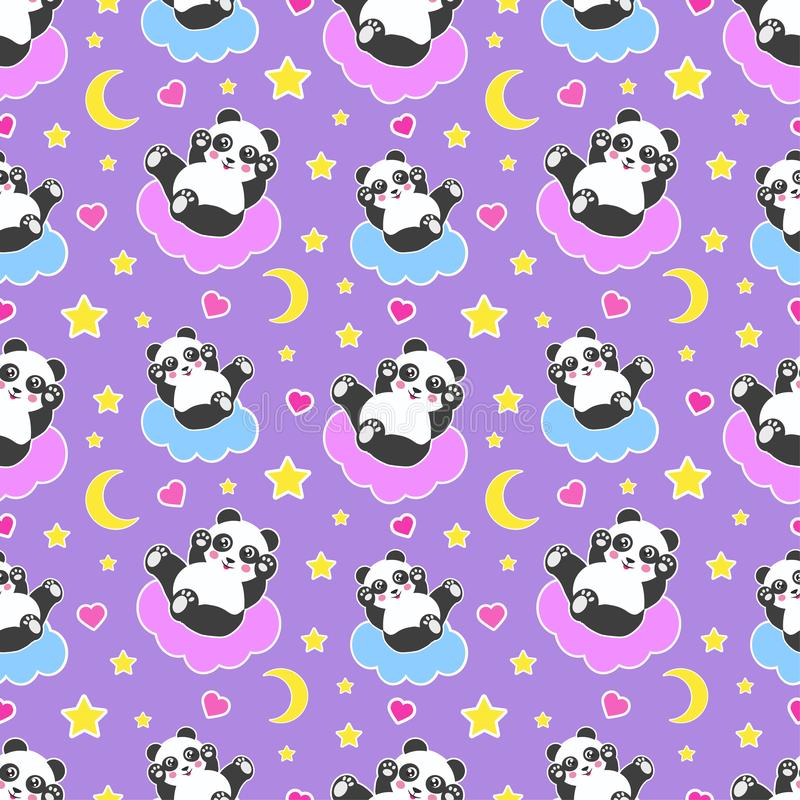 Good Night seamless pattern with cute panda bear, moon, hearts, stars and clouds. Sweet dreams background. Vector stock illustration