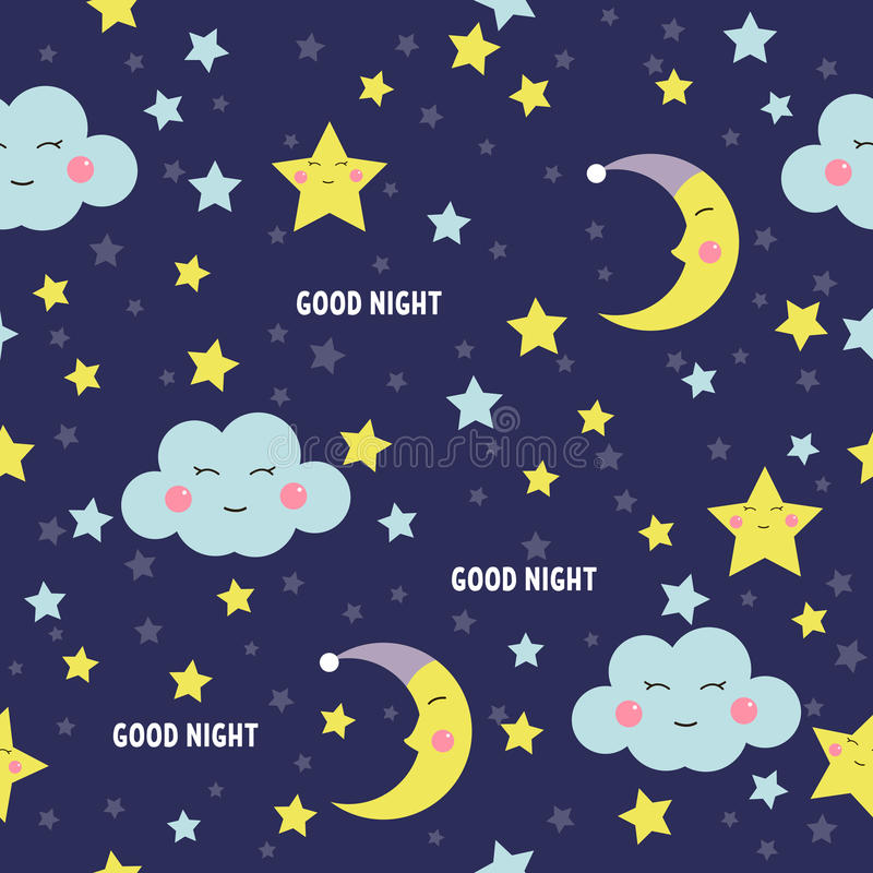 Good Night seamless pattern with cute sleeping moon, stars and clouds. Sweet dreams background. Vector illustration. stock illustration