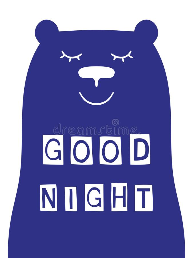 Free Good Night Slogan With Bear Face. Royalty Free Stock Image - 102632616