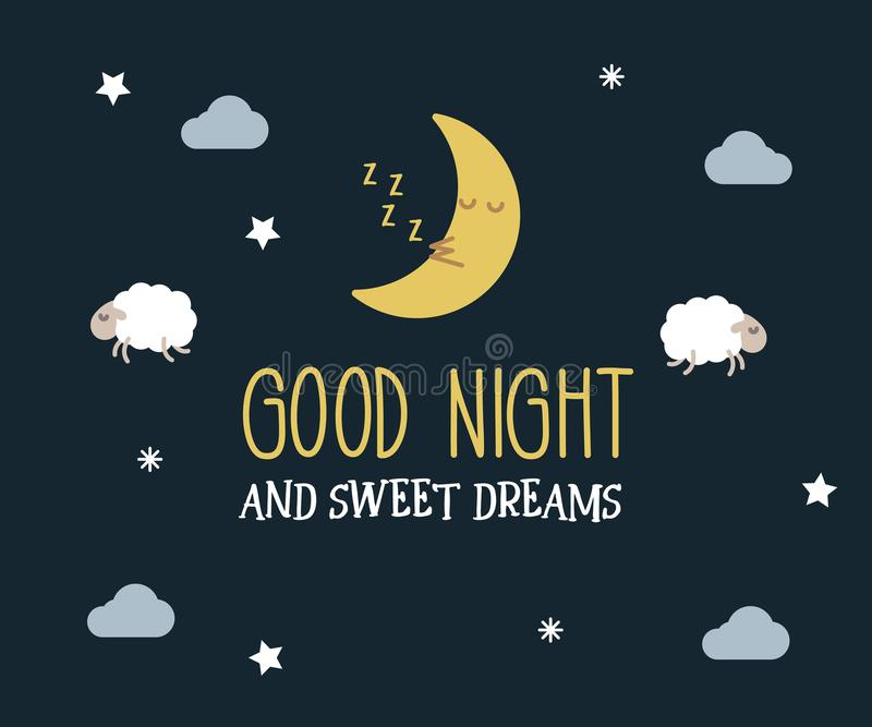 Good Night and sweet dreams cute vector card. Editable illustration with message, cute lambs and moon, clouds and stars. stock illustration
