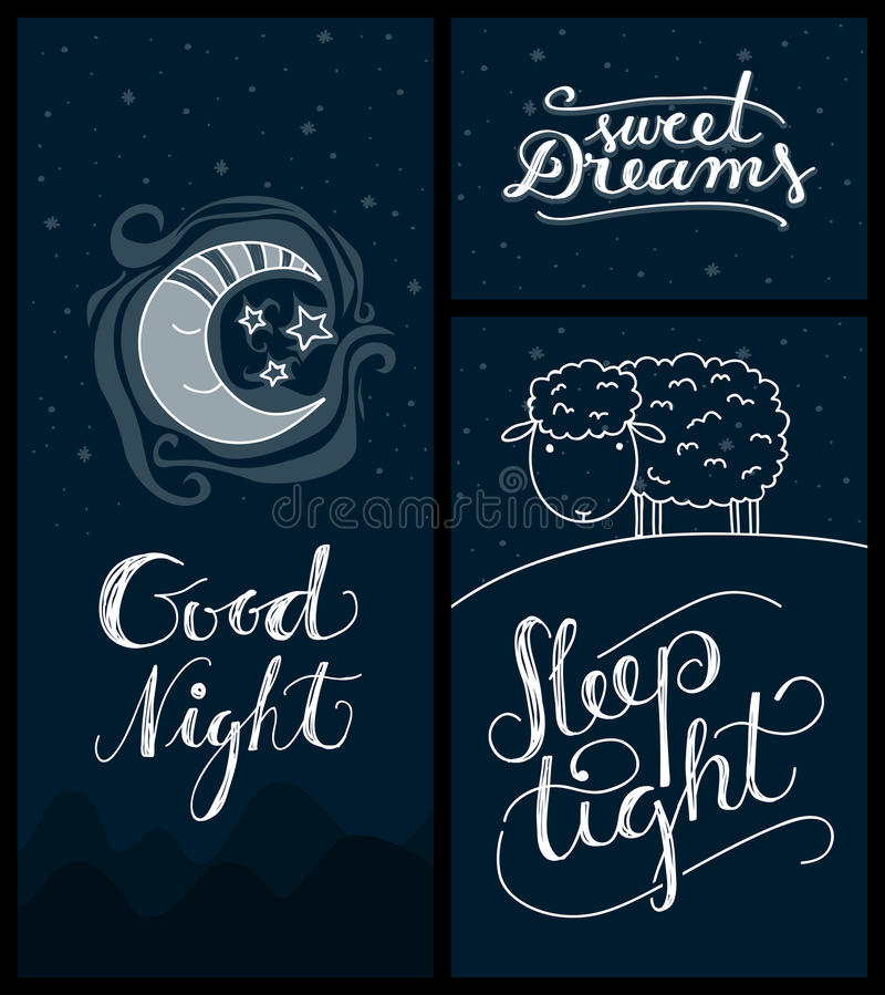 Download Good Night, Sweet Dreams, Sleep Tight Banners Stock Vector    Illustration Of Card