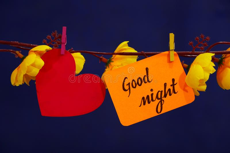 Good Night text, heart sign. stock photography