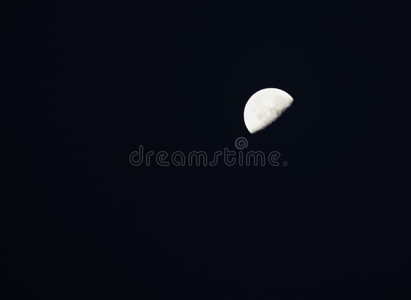 Good night to the half moon. Halfmoon, sky, dark, space, astro, star royalty free stock image