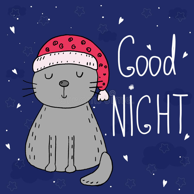 Good night vector card with cute Funny Cartoon cat . royalty free illustration