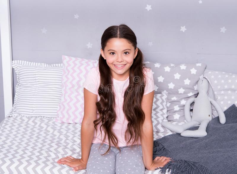 Good night. wish a good night to pretty child. liitle girl going to have good night in comfortable bedroom. good night. And sweet dreams royalty free stock photography