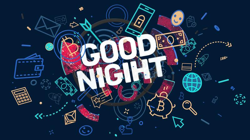 Good night wishes. Trendy colorful graphic composition with stylized icons and words Good Night, High resolution 3D render royalty free stock photography