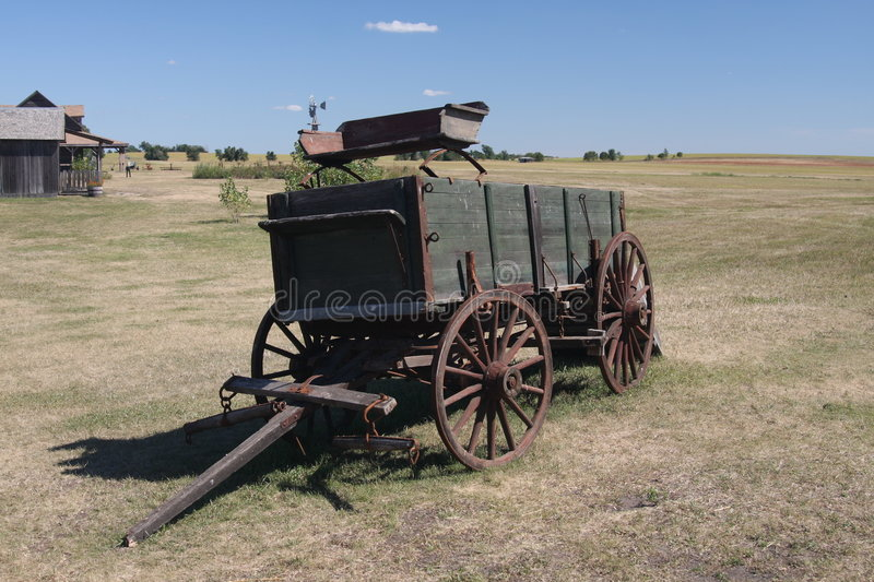 Good Ole Days?. Old wagon in DeSmet, SD at the old Laura Ingalls Wilder homestead royalty free stock image