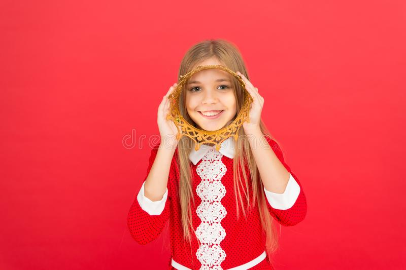 Good parenting. Child care. small girl child. School education. family and love. childrens day. happy little girl on red. Background. Childhood happiness royalty free stock images