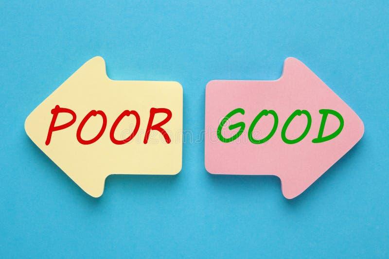 Good Poor Concept. Good Poor written on paper arrows on blue background. Credit Score Gauge stock photo