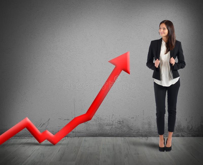 Good profit. Businesswoman proud of its good financial profit stock image