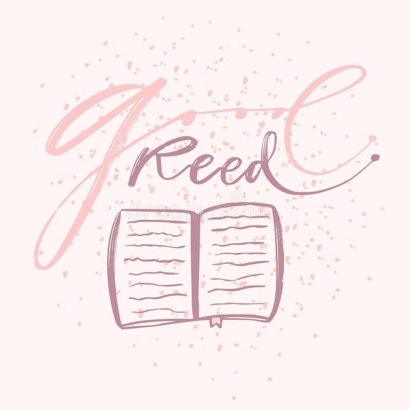 Good read book calligraphy print. Typographic poster design. Books blog icon. Good read book calligraphy print. Typographic poster design. Books icon stock illustration