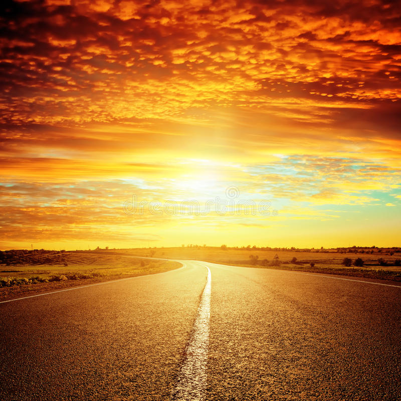 Good red sunset and asphalt road stock photo