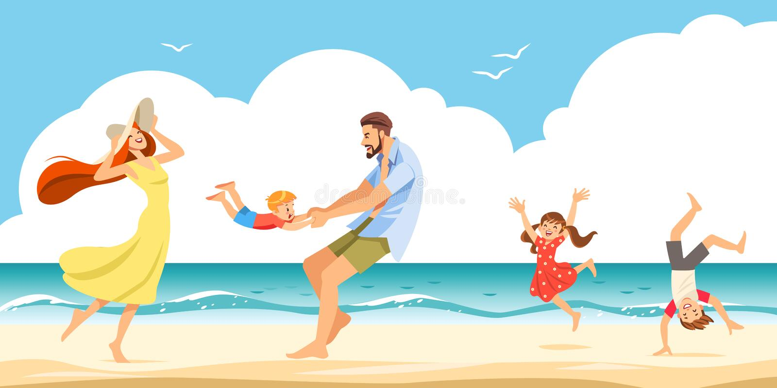 Good relations in family. The cheerful family taking a rest on a sandy shore in the seaside. Vector illustration. royalty free stock photography