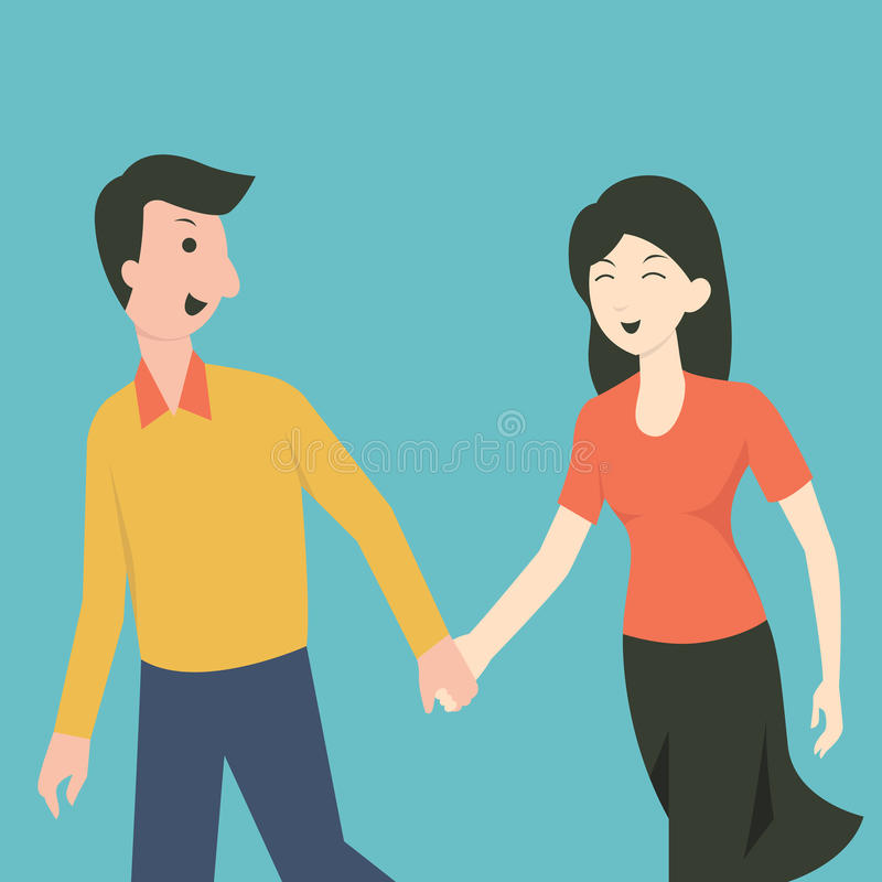Good relationship. Cartoon character of happy man and woman walking and holding hands, being good relationship concept stock illustration