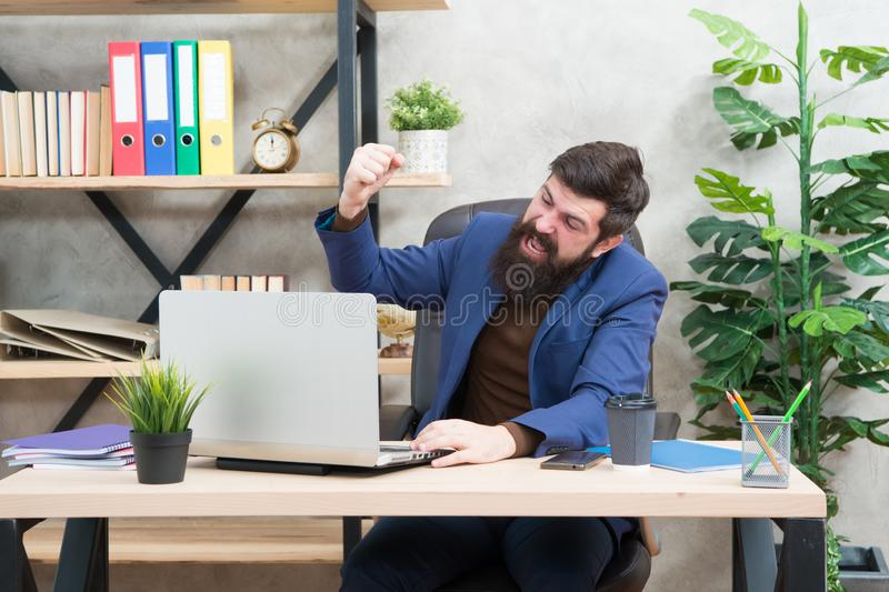 Good result. Businessman in formal outfit. Confident man use laptop and smartphone. Boss workplace. work for result. Bearded man in business office. happy with stock photos