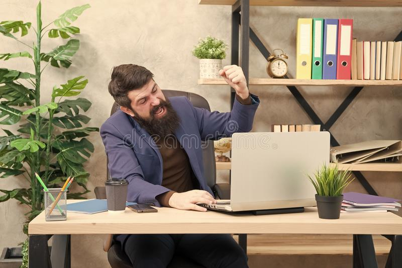 Good result. Businessman in formal outfit. Confident man use laptop and smartphone. Boss workplace. work for result. Bearded man in business office. happy with stock photo