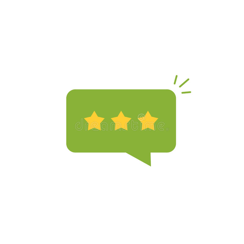 Good review rating icon vector,review stars with positive rate in green chat bubble speech, testimonial message. Good review rating icon vector idea, flat style stock illustration