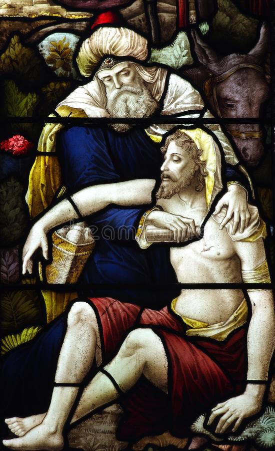 The Good Samaritan (stained glass). A photo of The Good Samaritan (stained glass royalty free stock image