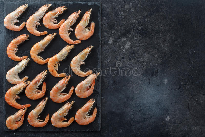 Good selection of raw shrimps for dinner on stone plate. Food background. A frame for your text. royalty free stock photography