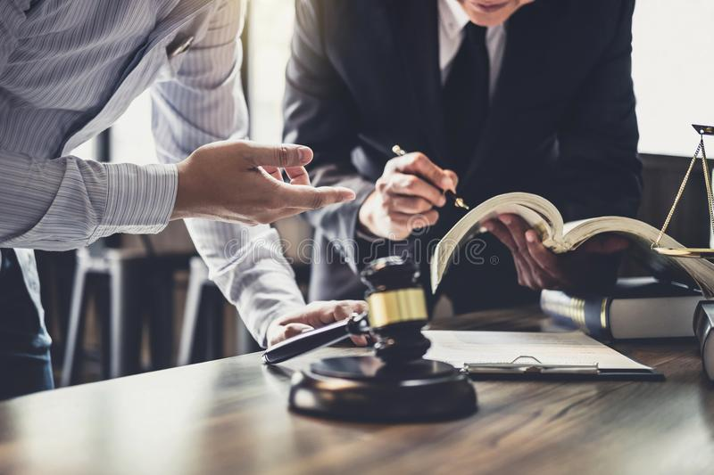 Good service cooperation, Consultation of Businessman and Male l. Awyer or judge counselor having team meeting with client, Law and Legal services concept royalty free stock photography