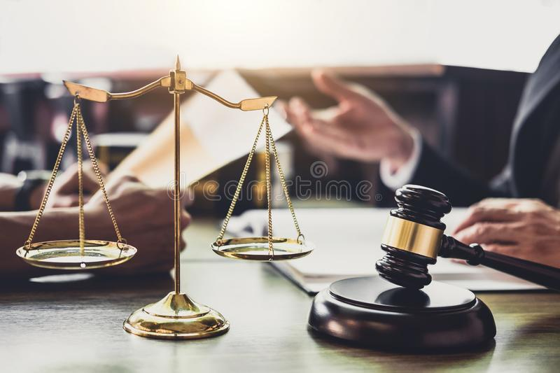 Good service cooperation, Consultation of Businessman and Male l. Awyer or judge counselor having team meeting with client, Law and Legal services concept stock photo