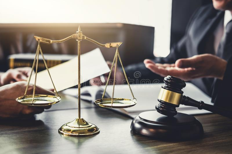 Good service cooperation, Consultation of Businessman and Male l. Awyer or judge counselor having team meeting with client, Law and Legal services concept royalty free stock image
