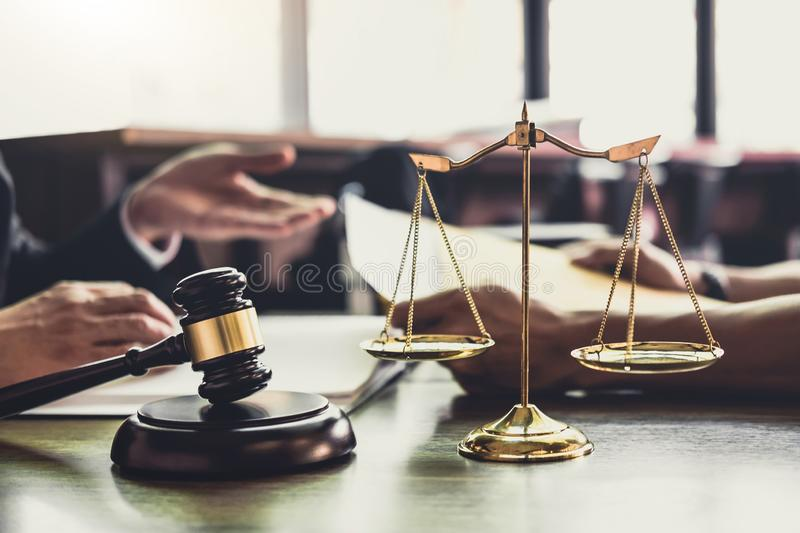 Good service cooperation, Consultation of Businessman and Male lawyer or judge counselor having team meeting with client, Law and. Legal services concept royalty free stock image