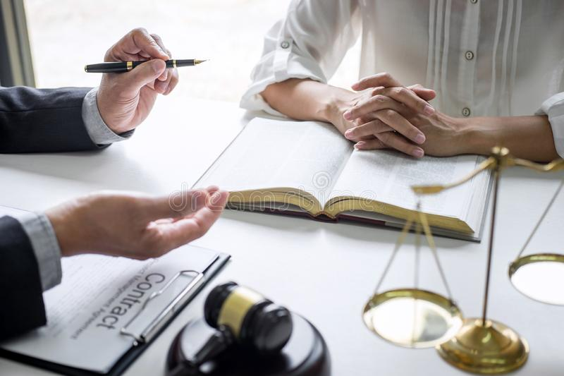 Good service cooperation, Consultation of Businesswoman and Male lawyer or judge counselor having team meeting with client, Law. And Legal services concept stock images