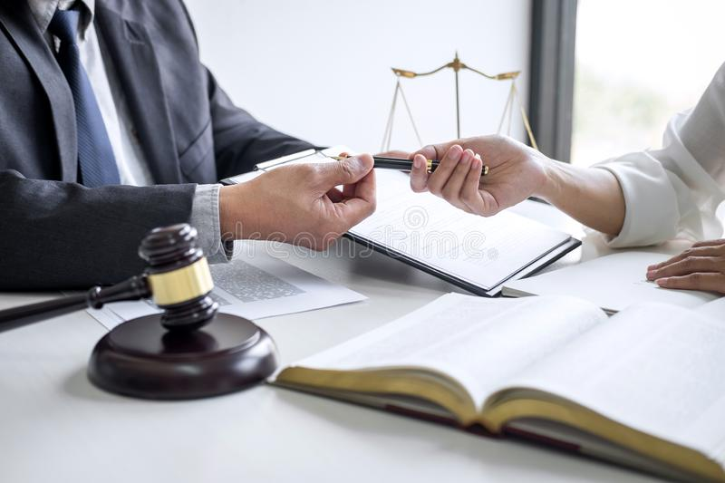 Good service cooperation, Consultation of Businesswoman and Male lawyer or judge counselor having team meeting with client, Law. And Legal services concept stock photos