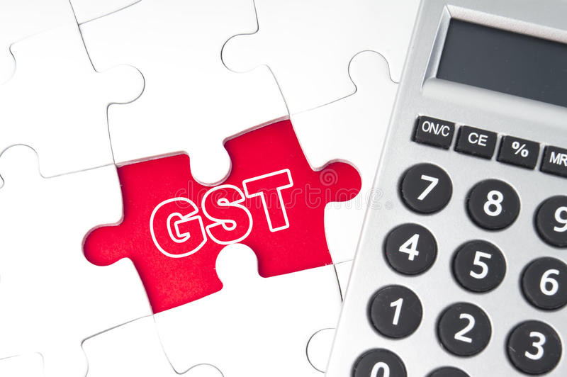 Good service tax (GST). Good Service Text with calculator stock photography