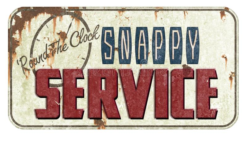 Good Service Tin Sign. Good Snappy Service Vintage Tin Sign that is rusted and embossed with lettering and clock face from the 40`s and 50`s royalty free stock images