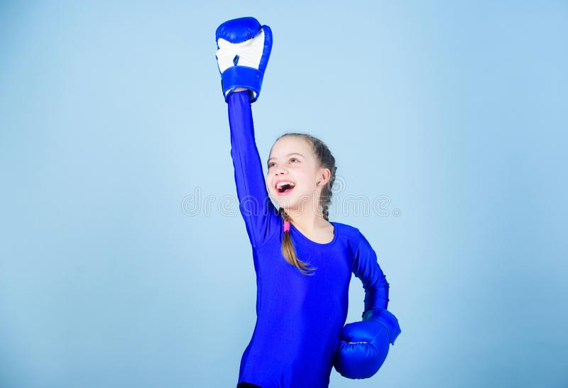 Always in good shape. Sport success. sportswear fashion. workout of small girl boxer. punching knockout. Childhood. Activity. Fitness diet. energy health. Happy stock photo