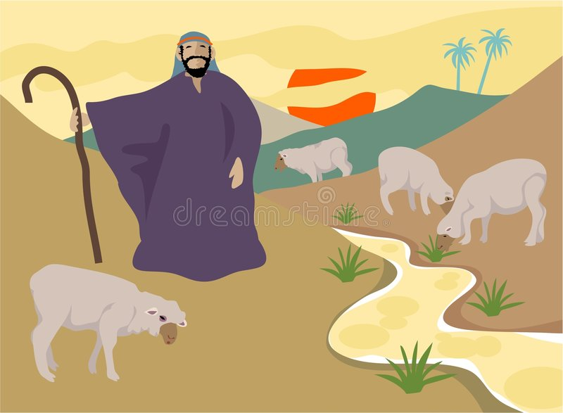 The Good Shepherd. Takes care of his sheep stock illustration