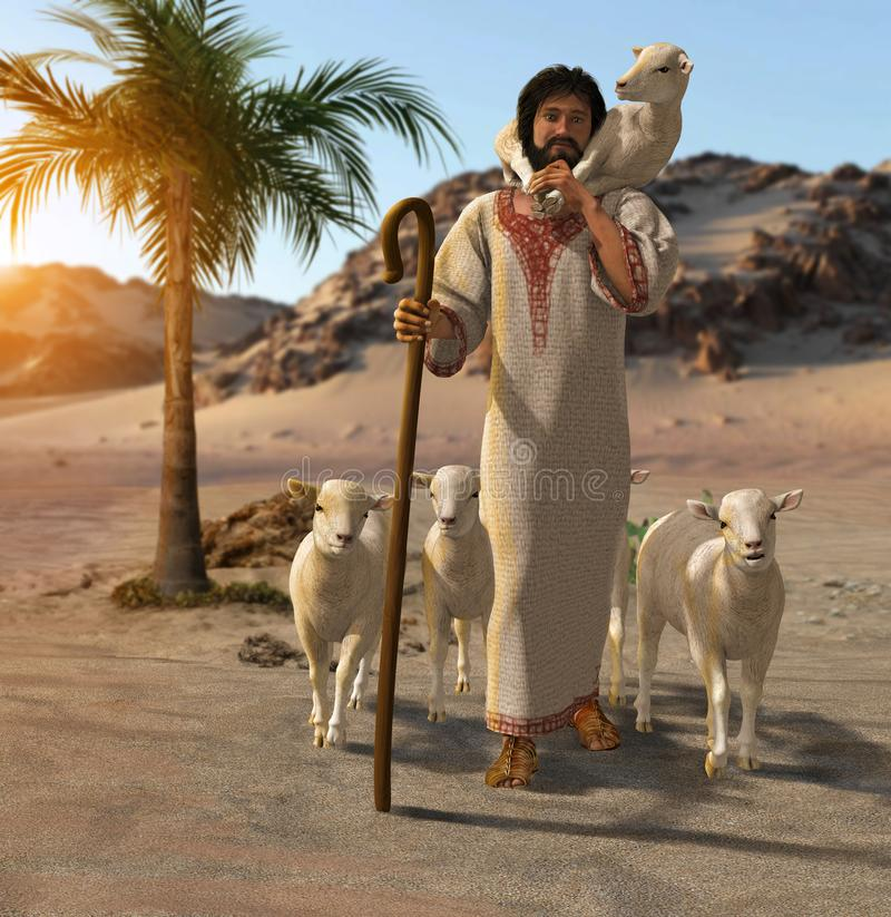 The good shepherd brings home a lamb. 3D render of the good shepherd taking care of his sheep in a desert oasis vector illustration