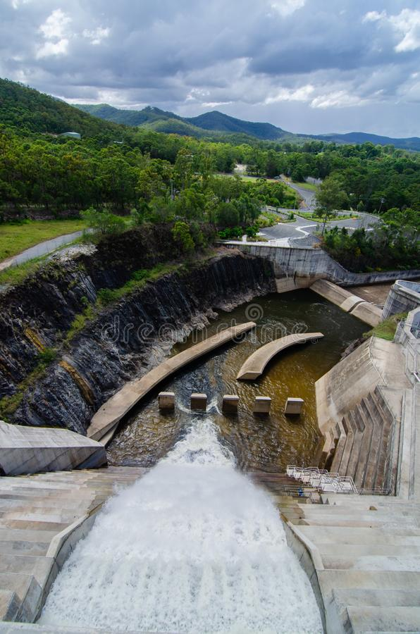 The spillway at Lake Wivenhoe dam, Queensland in use royalty free stock photography