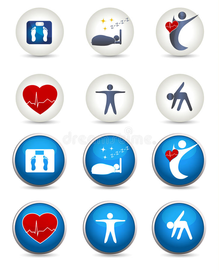 Download Good Sleep, Fitness And Other Healthy Living Icons Stock Vector - Image: 39624614
