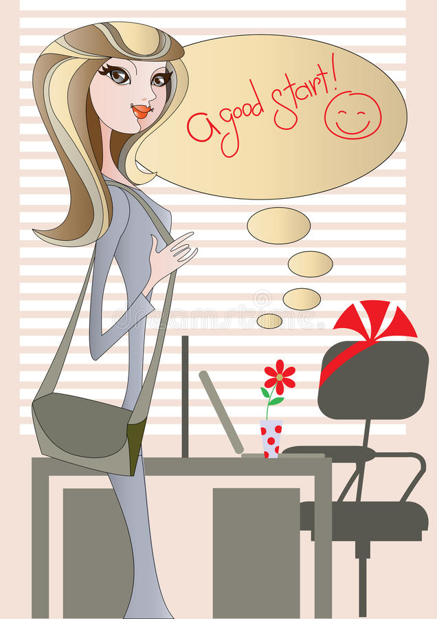 Download A good start! stock vector. Image of girl, greeting, atmosphere - 16394892
