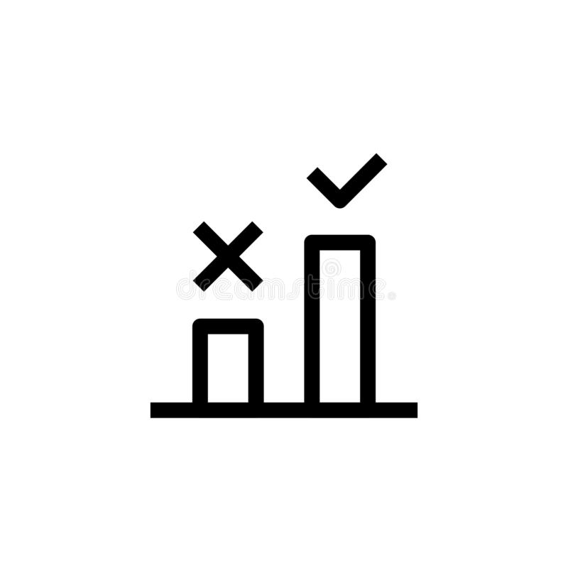 Good step selection icon design. two bar chart with cross and check mark symbol. simple clean line art professional business. Management concept vector stock illustration