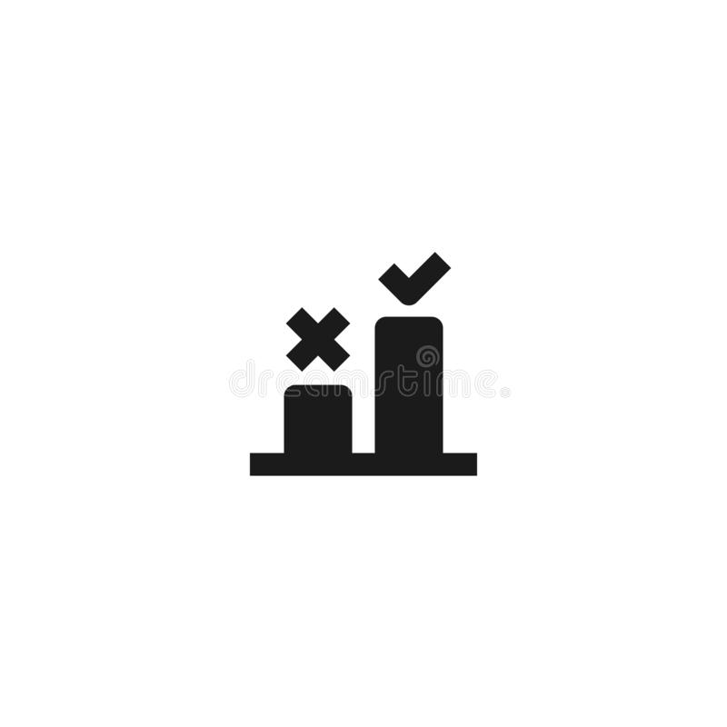 Good step selection icon design. two bar chart with cross and check mark symbol. simple clean professional business management. Concept vector illustration stock illustration