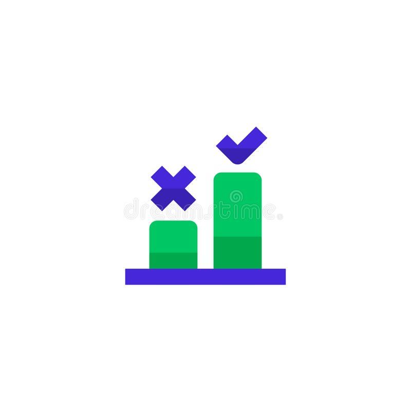 Good step selection icon design. two bar chart with cross and check mark symbol. simple clean professional business management. Concept vector illustration royalty free illustration