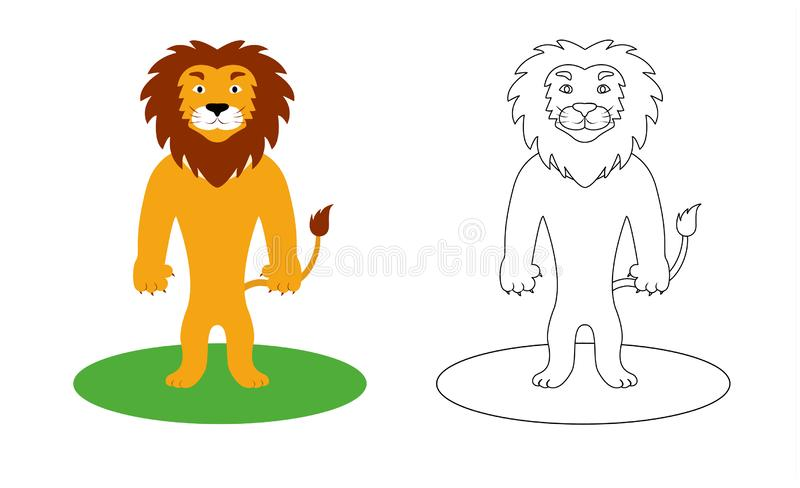 Good and strong lion coloring book, vector illustration stock photo