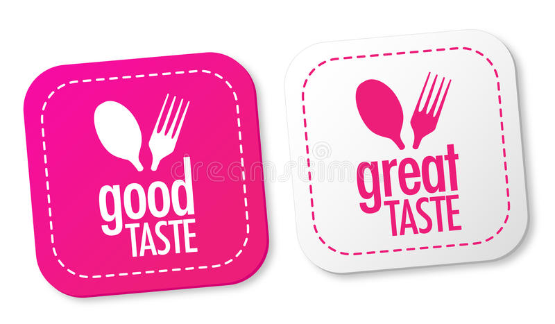 Good taste and Great taste stickers stock illustration