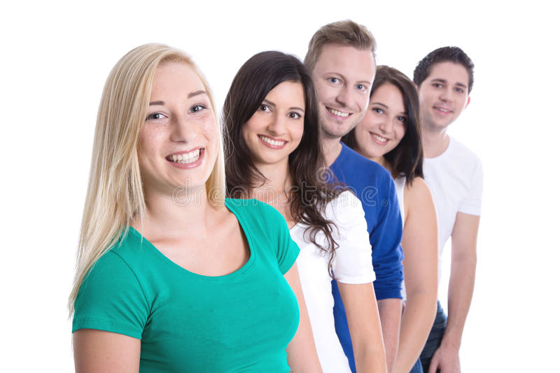 Download Good Teamwork - Happy Trainees In A Row Isolated On White Backgr Stock Image - Image: 34769631