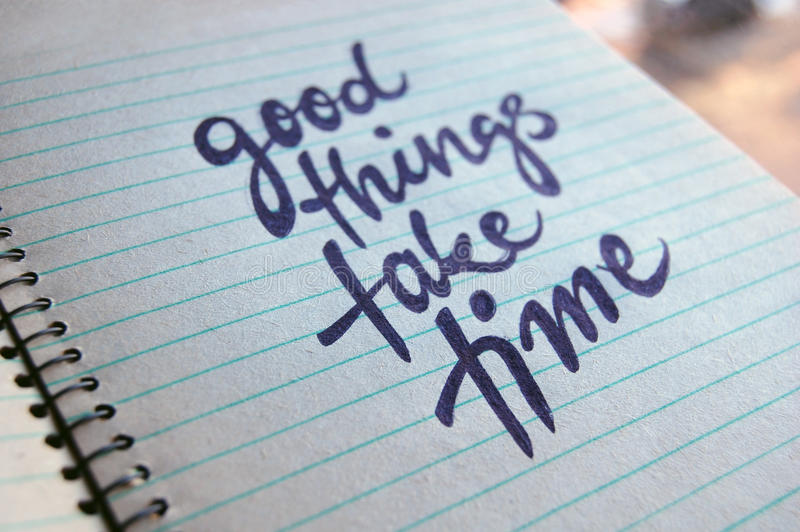 Download Good Things Take Time Calligraphic Background Stock Illustration - Image: 83712741