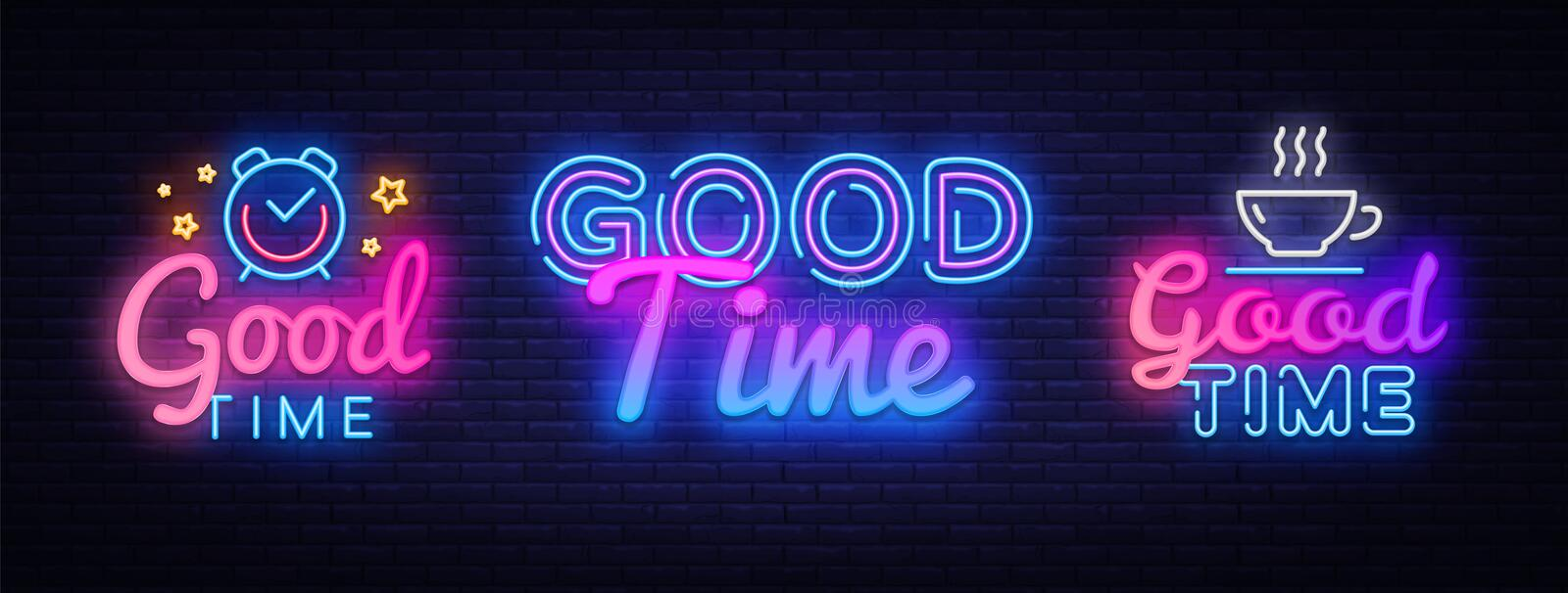 Good Time collection neon signs vector. Good Times design template concept. Neon banner background design, night symbol vector illustration