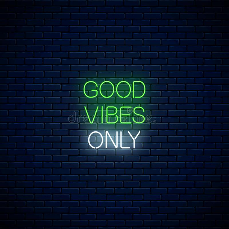 Good Vibes Glowing Neon Inscription Phrase With Cute Panda Head Motivation Quote Good Vibes In Neon Style Stock Vector Illustration Of Motivation Determination 157149205