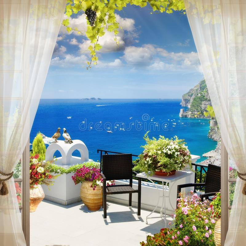 Digital fresco. The view from the window on the sea. stock photos