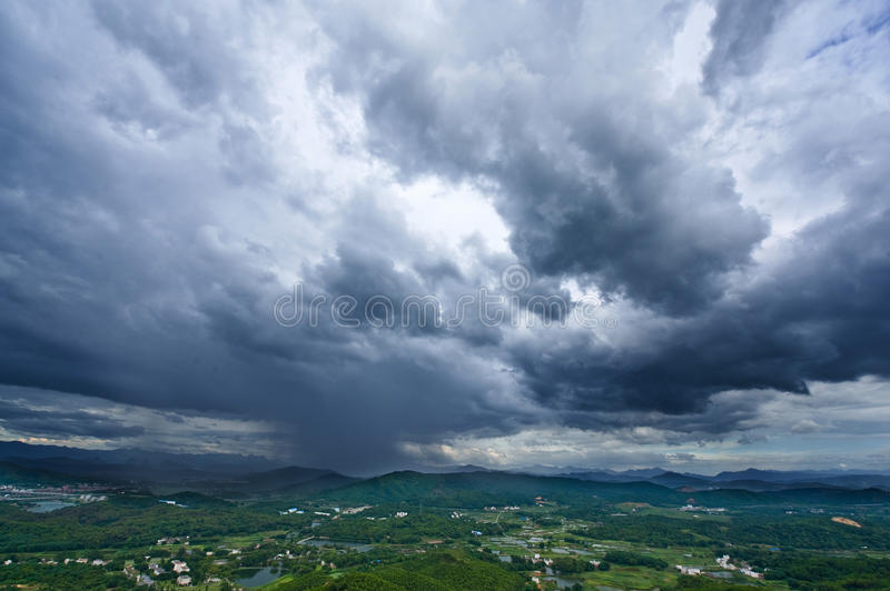 Good view of shaoguan. Huge cloud in shaoguan city stock images